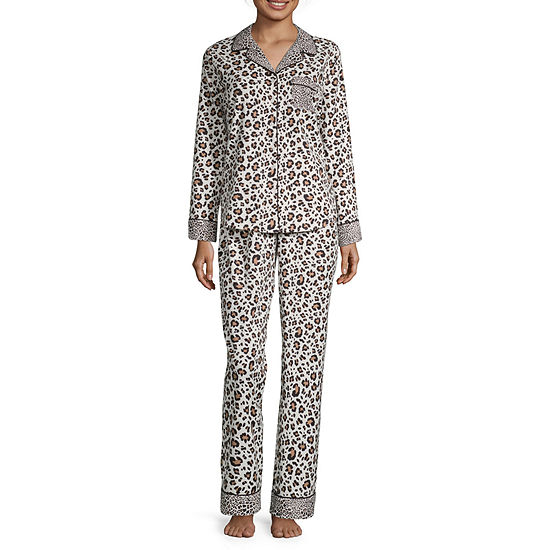 Liz Claiborne Womens Long Sleeve 2-pc Pant Pajama Set - Talls
