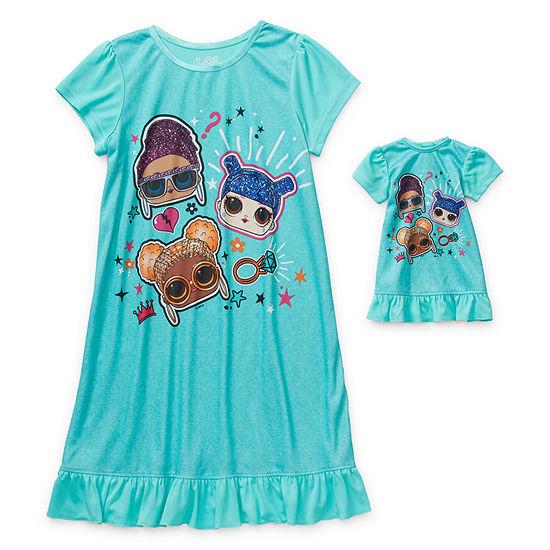 Little Kid / Big Kid Girls LOL Short Sleeve Crew Neck Nightgown
