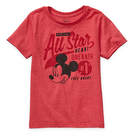 Disney Collection Little & Big Boys Crew Neck Mickey Mouse Short Sleeve Graphic T-Shirt