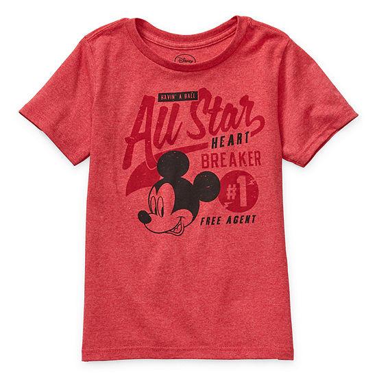 Disney Collection Boys Crew Neck Short Sleeve Mickey Mouse Graphic T-Shirt - Preschool / Big Kid