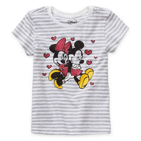 Disney Collection - Little Kid / Big Kid Girls Crew Neck Minnie Mouse Short Sleeve Graphic T-Shirt