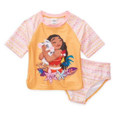 Disney Collection Little & Big Girls Moana Rash Guard Set