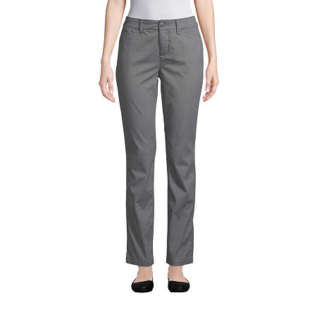 St. John's Bay Womens Mid Rise Straight Flat Front Pant, 6 , Gray