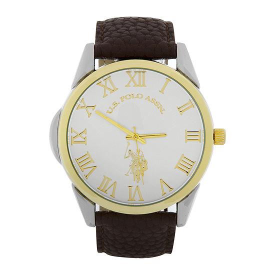 U.S. Polo Assn.® Mens Gold-Tone Bezel Brown Strap Watch