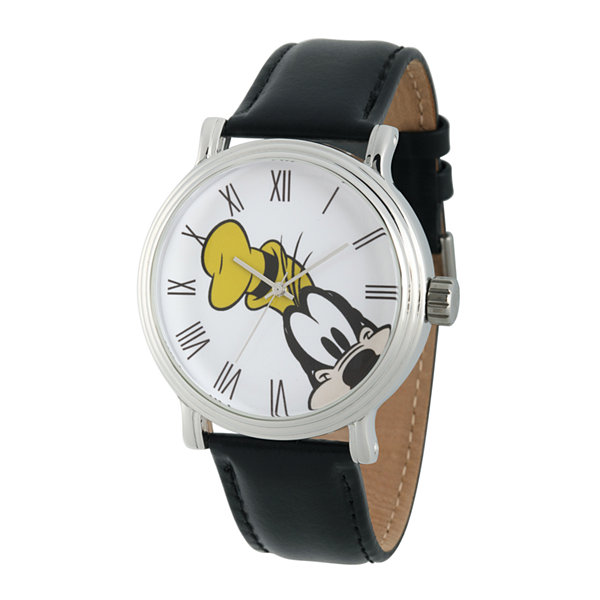 Disney Collection Mens Vintage Goofy Black Leather Strap Watch