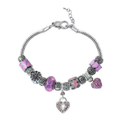 Dazzling Designs™ Silver-Plated Brass Pink & Silver Pavé Heart Bracelet