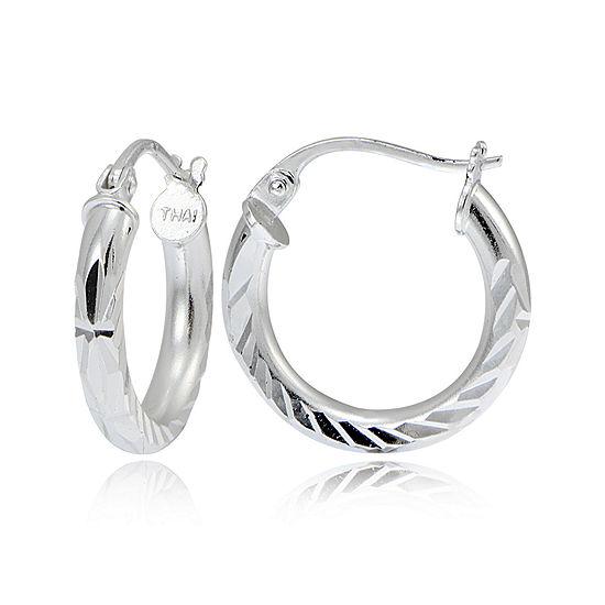 Sterling Silver Diamond-Cut 15MM Hoop Earrings