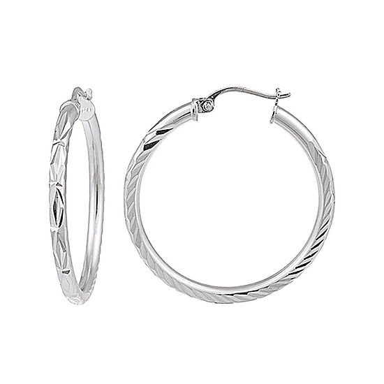 Sterling Silver Diamond-Cut 20MM Hoop Earrings