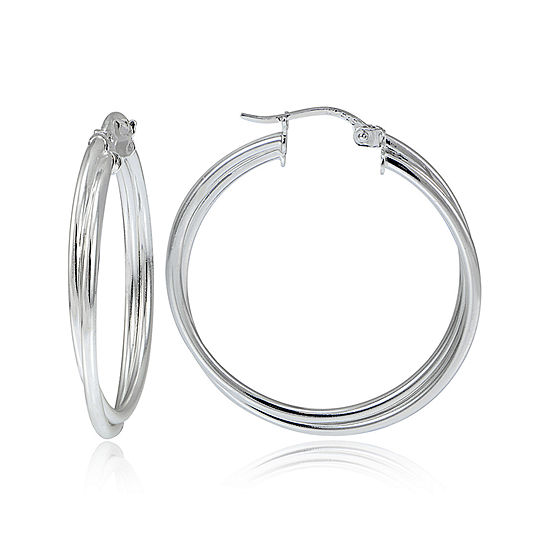 Sterling Silver 30MM Double Hoop Earrings