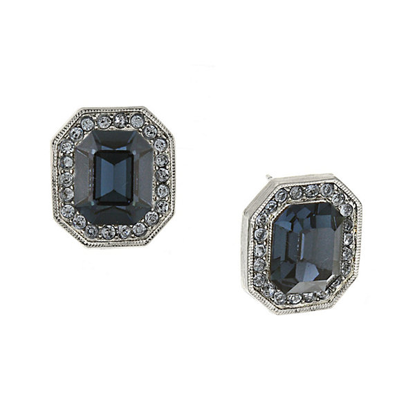 1928® Blue Crystal Silver-Tone Button Earrings
