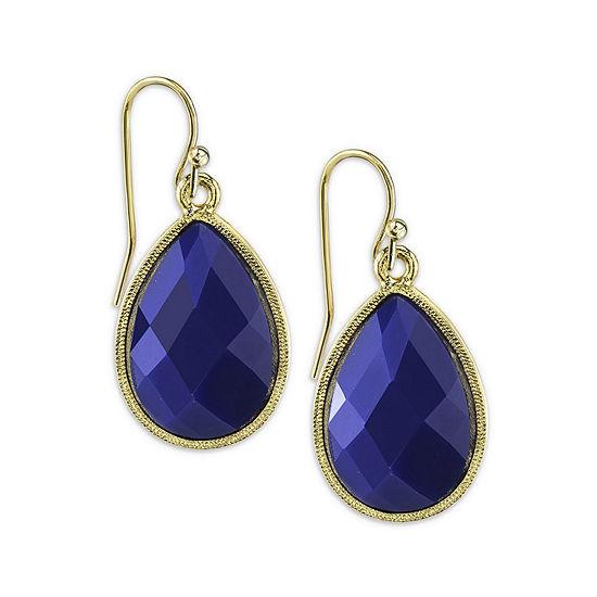 1928® Gold-Tone Blue Teardrop Earrings