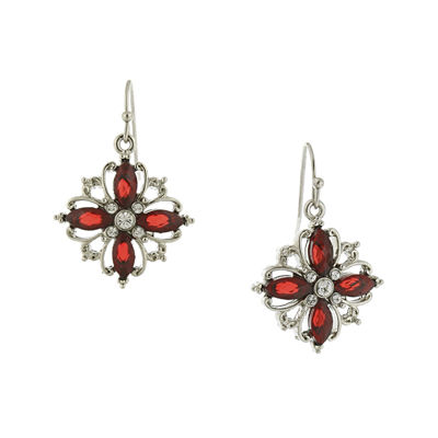 1928® Red Stone Silver-Tone Marquise Earrings