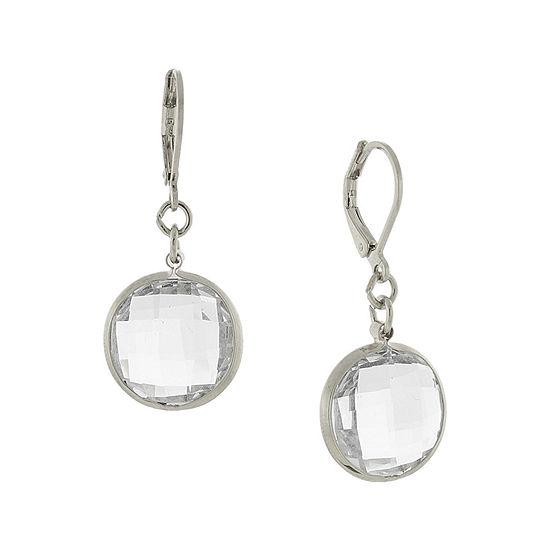 1928® Silver-Tone Crystal Drop Earrings