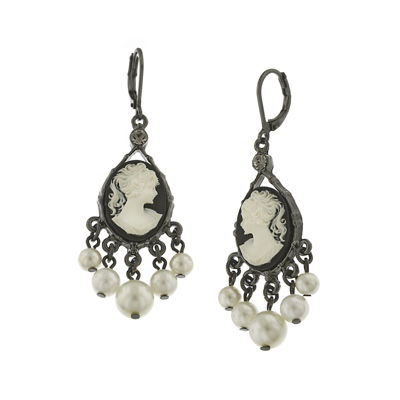 1928® Simulated Pearl and Black Cameo Drop Earrings
