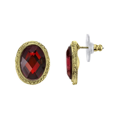 1928® Red Stone Gold-Tone Button Earrings
