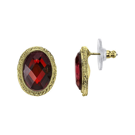 1928 Red Stone Gold Tone Button Earrings
