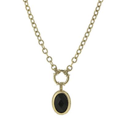 1928® Black Stone Gold-Tone Pendant Necklace