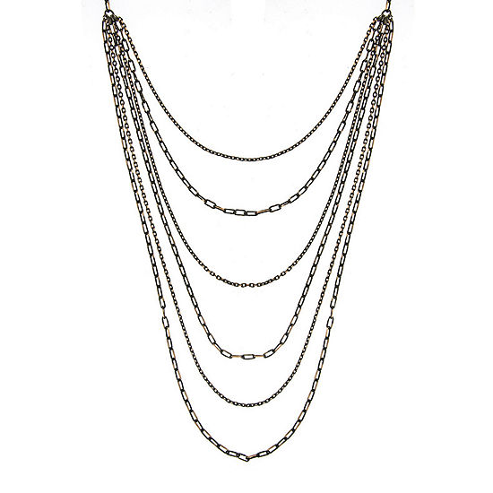 1928® 6-Row Black and Gold-Tone Layered Chain Necklace