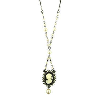 1928® Black-Tone and Simulated Pearl Black Cameo Necklace