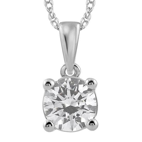 3/4 CT. Diamond Solitaire 14K White Gold Pendant Necklace