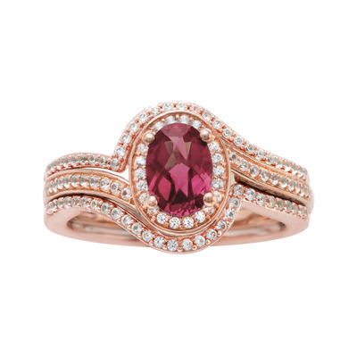 10K Rose Gold Rhodolite and Diamond Ring