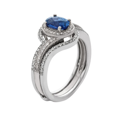 10K White Gold Sapphire and Diamond Bridal Set