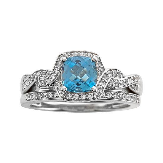 Genuine Blue Topaz and 1/3 CT. T.W. Diamond 10K White Gold Ring Set