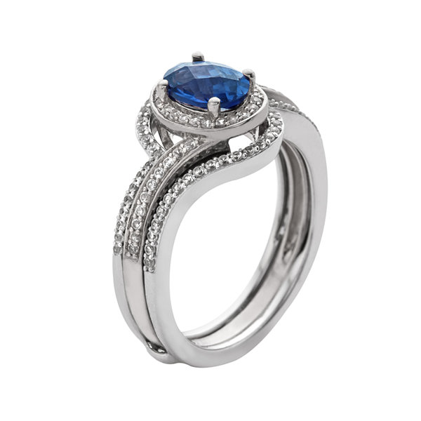 Sterling Silver Sapphire and Diamond Bridal Set