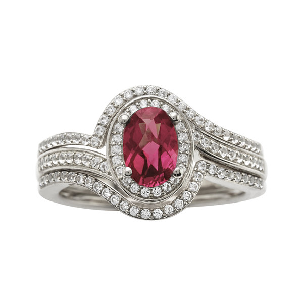 Sterling Silver Rhodolite and Diamond Ring
