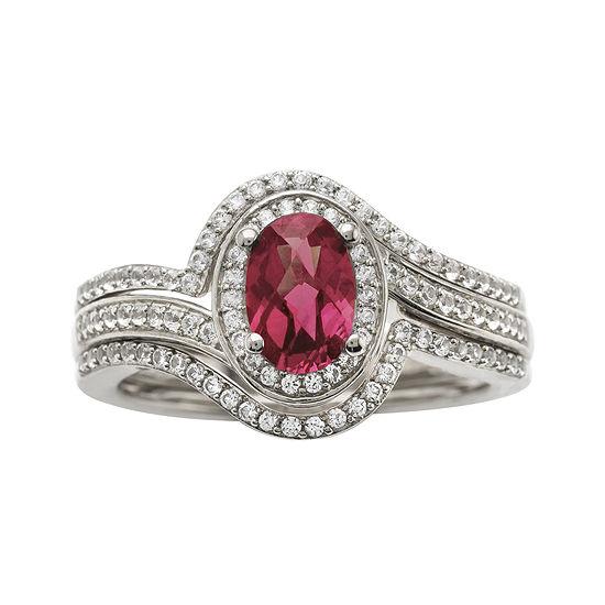 Sterling Silver Rhodolite and Diamond Ring