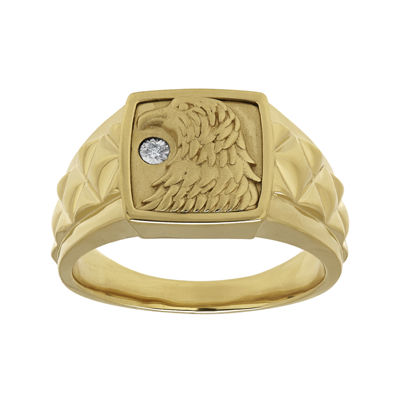 Mens Diamond-Accent 14K Gold Over Silver Eagle's Head Ring