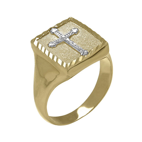 Mens 14K Two-Tone Gold Crucifix Ring
