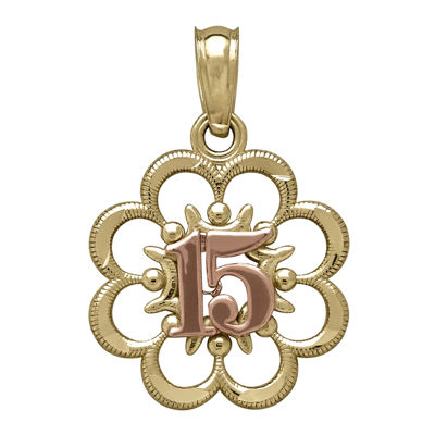 Tesoro™ 14K Two-Tone Gold 15 Quiceanera Flower Pendant