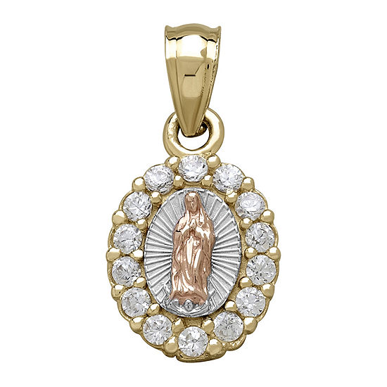 Tesoro™ Cubic Zirconia 14K Tri-Color Gold Our Lady of Guadalupe Pendant