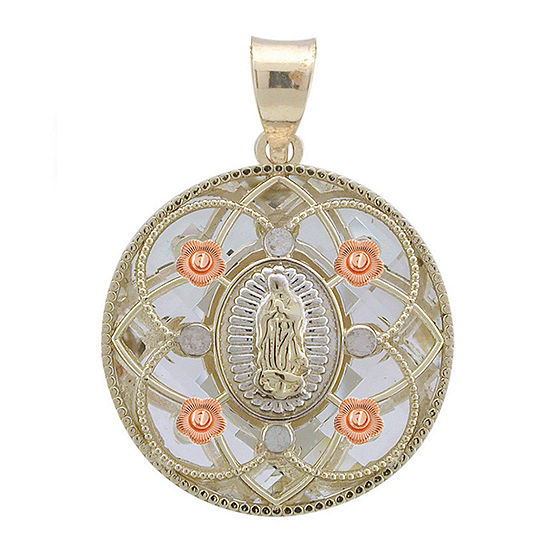 Rene Bargueiras Crystal 14k Tri Color Gold Our Lady Of Guadalupe Pendant