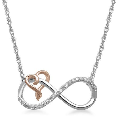 Hallmark Diamonds 1/10 CT. T.W. Diamond Two-Tone Gold Twist Heart Necklace