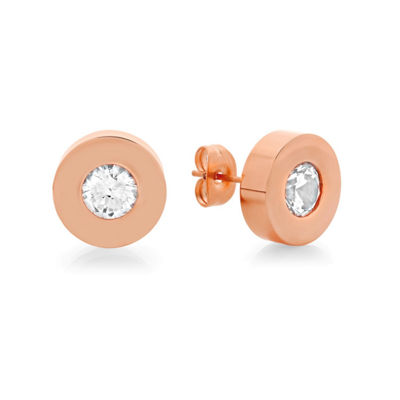 Round White Crystal 18K Rose-tone  Stainless Steel Stud Earrings