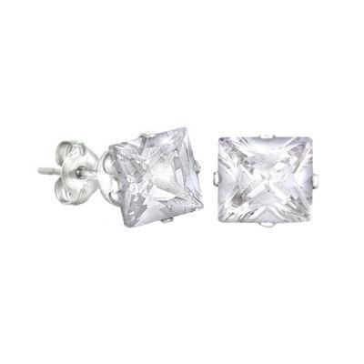 White Cubic Zirconia Stainless Steel 8mm Stud Earrings