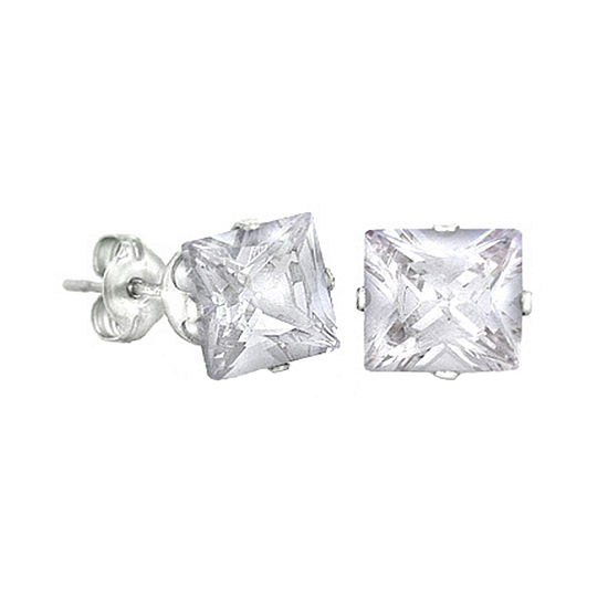 White Cubic Zirconia Stainless Steel 8mm Stud Earrings