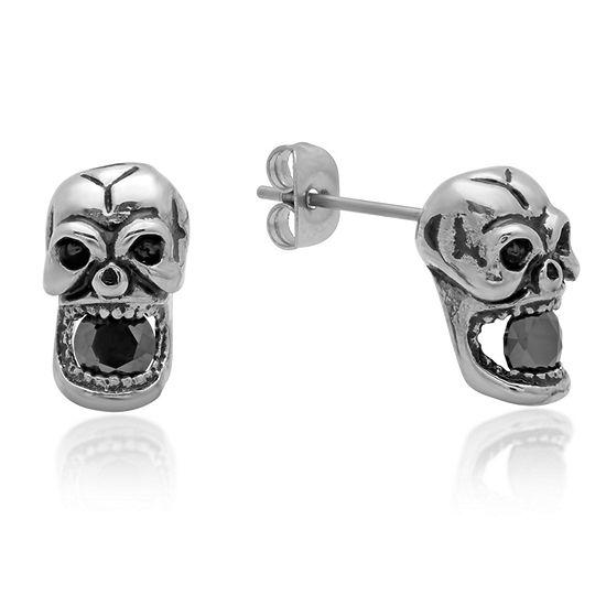 Black Cubic Zirconia Stainless Steel Stud Earrings