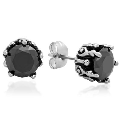 Steeltime Round Black Cubic Zirconia Stainless Steel Stud Earrings