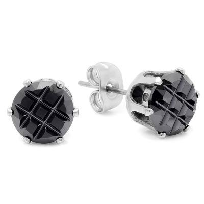 Black Cubic Zirconia Stainless Steel 6mm Stud Earrings