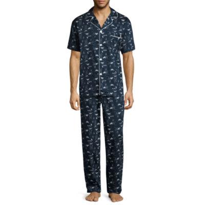 Stafford® Sateen Short Sleeve/ Long Leg Pajama Set -Men's
