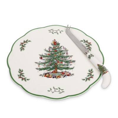"Spode Christmas Tree 9"" Appetizer Plate with Knife"
