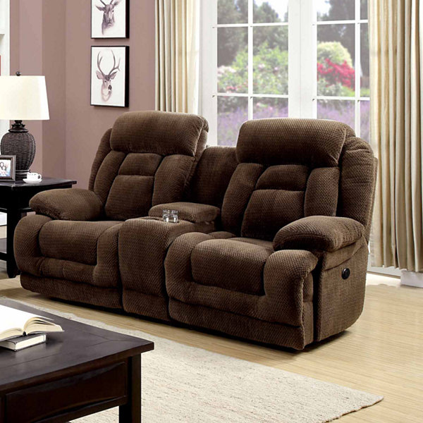 Haney Transitional Pad-Arm Power Recline Loveseat