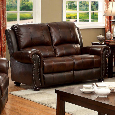 Myron Transitional Roll-Arm Loveseat