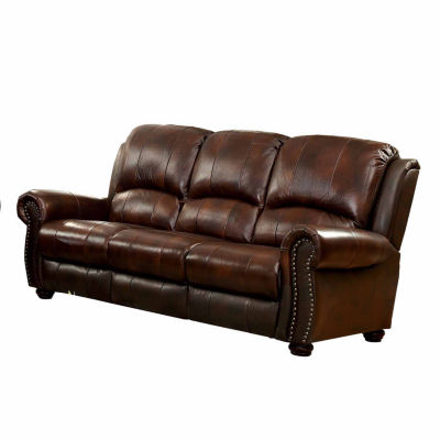 Myron Transitional Leather Roll-Arm Sofa