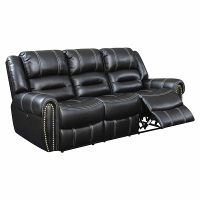 Bismark Contemporary Faux Leather Roll-Arm Sofa