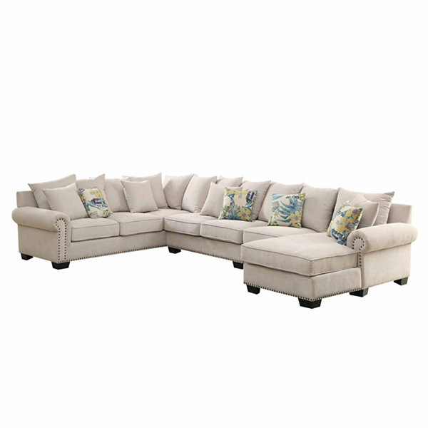 Selena Transitional 2-pc. Roll-Arm Sectional