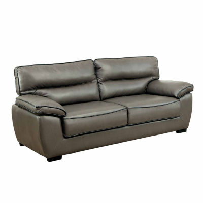 Caleb Transitional Faux Leather Pad-Arm Sofa